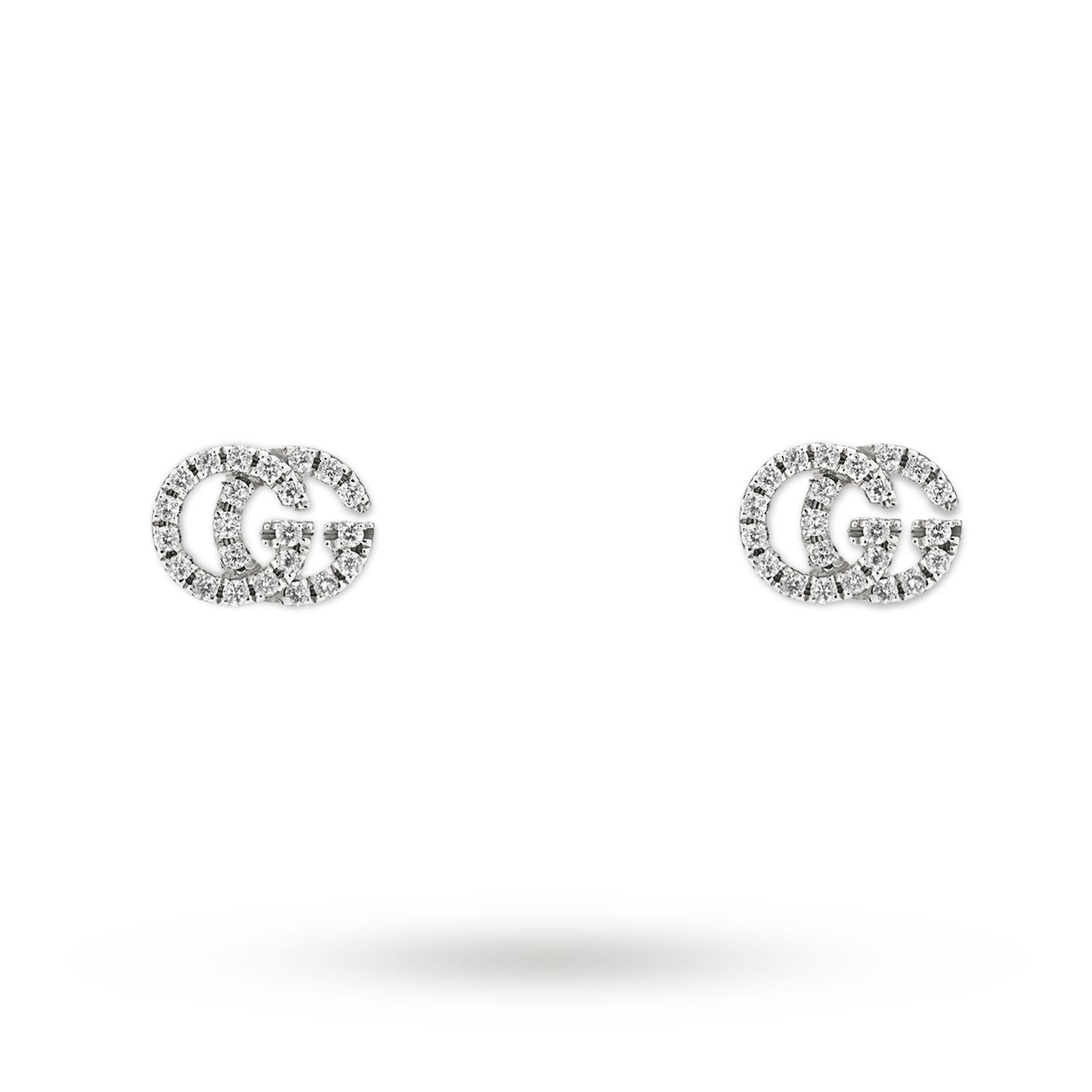 Gucci Running G Pave 18ct White Gold Diamond Stud Earrings Jewellery Goldsmiths