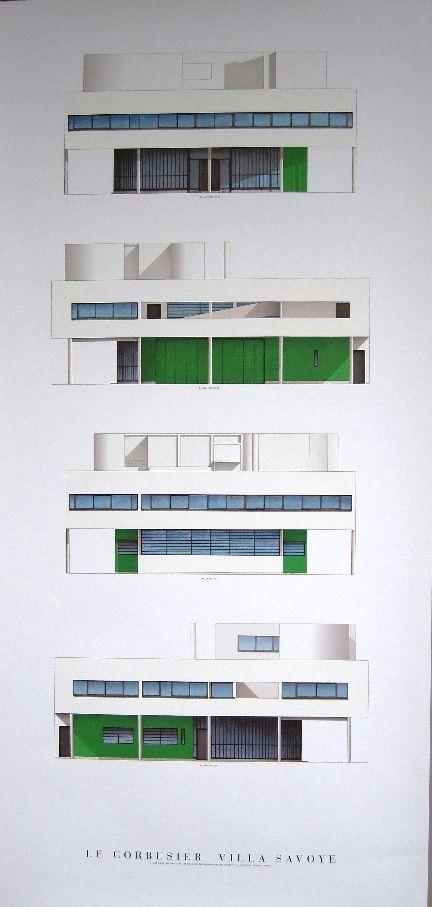 Print Four elevations of Le Corbusieru0027s Villa Savoye Le Corbusier - site de construction de maison virtuel gratuit