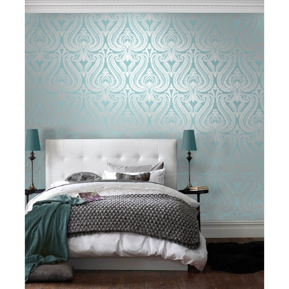 I Love Wallpaper™ Shimmer Damask Metallic Wallpaper Teal / Silver  (ILW980012)   Wallpaper