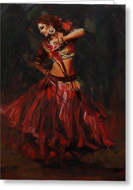 Classical Dance Art 16 Greeting Card By Maryam Mughal Indian Art Paintings Dance Paintings India Art