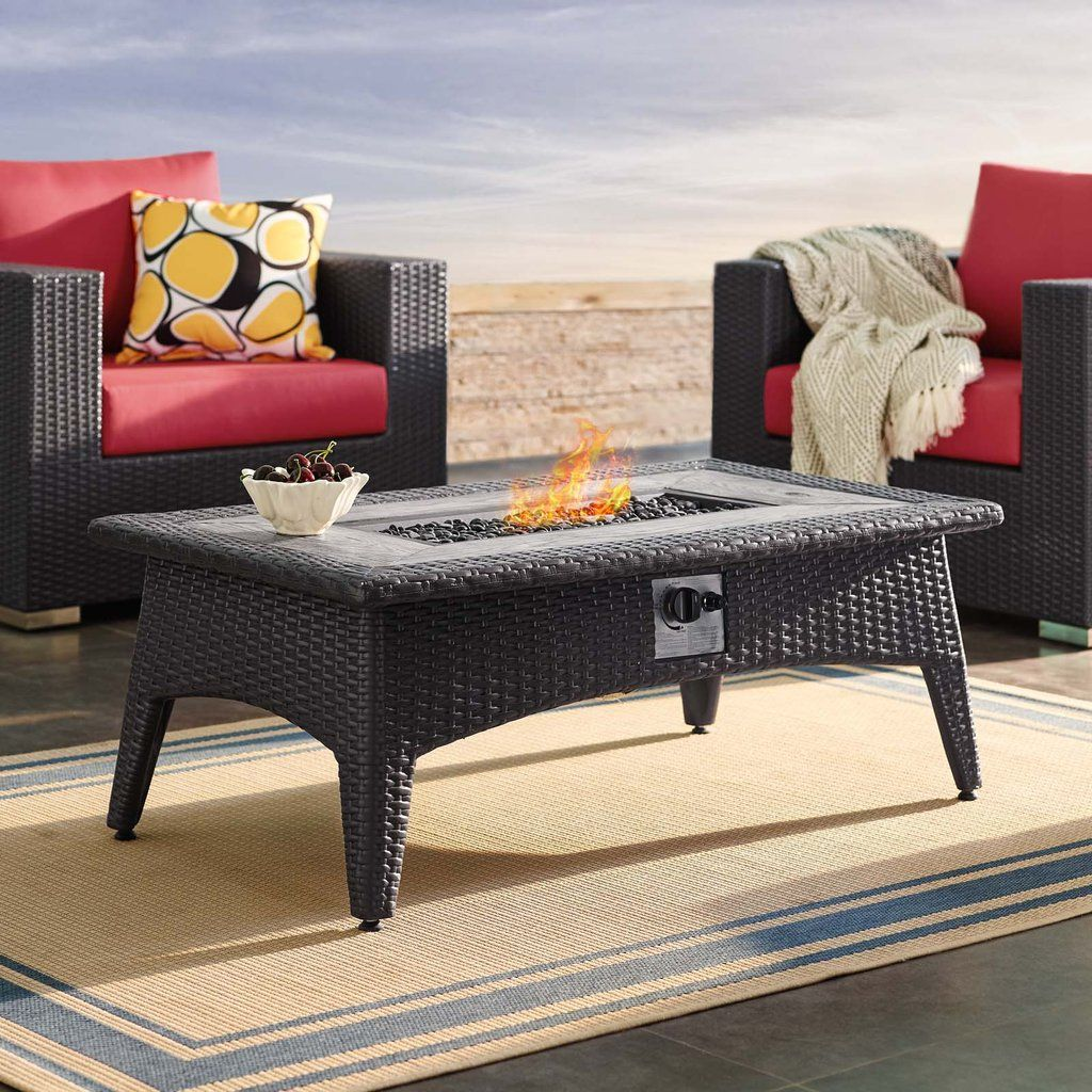 Modway Splender 43 5 Rectangle Outdoor Patio Fire Pit Table