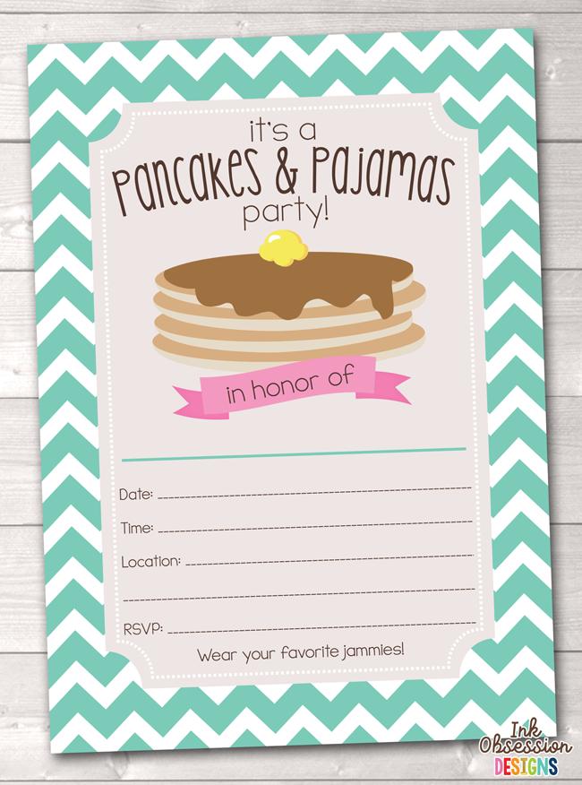 Aqua Blue Pancake Party Printable Birthday Party Invitation ...