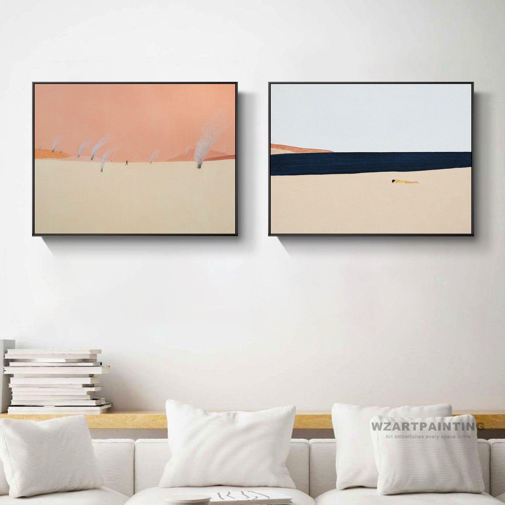 Framed Wall Art Set Of 2 Abstract Beach Sea Black White Orange Etsy Framed Wall Art Sets Wall Art Sets Framed Wall Art