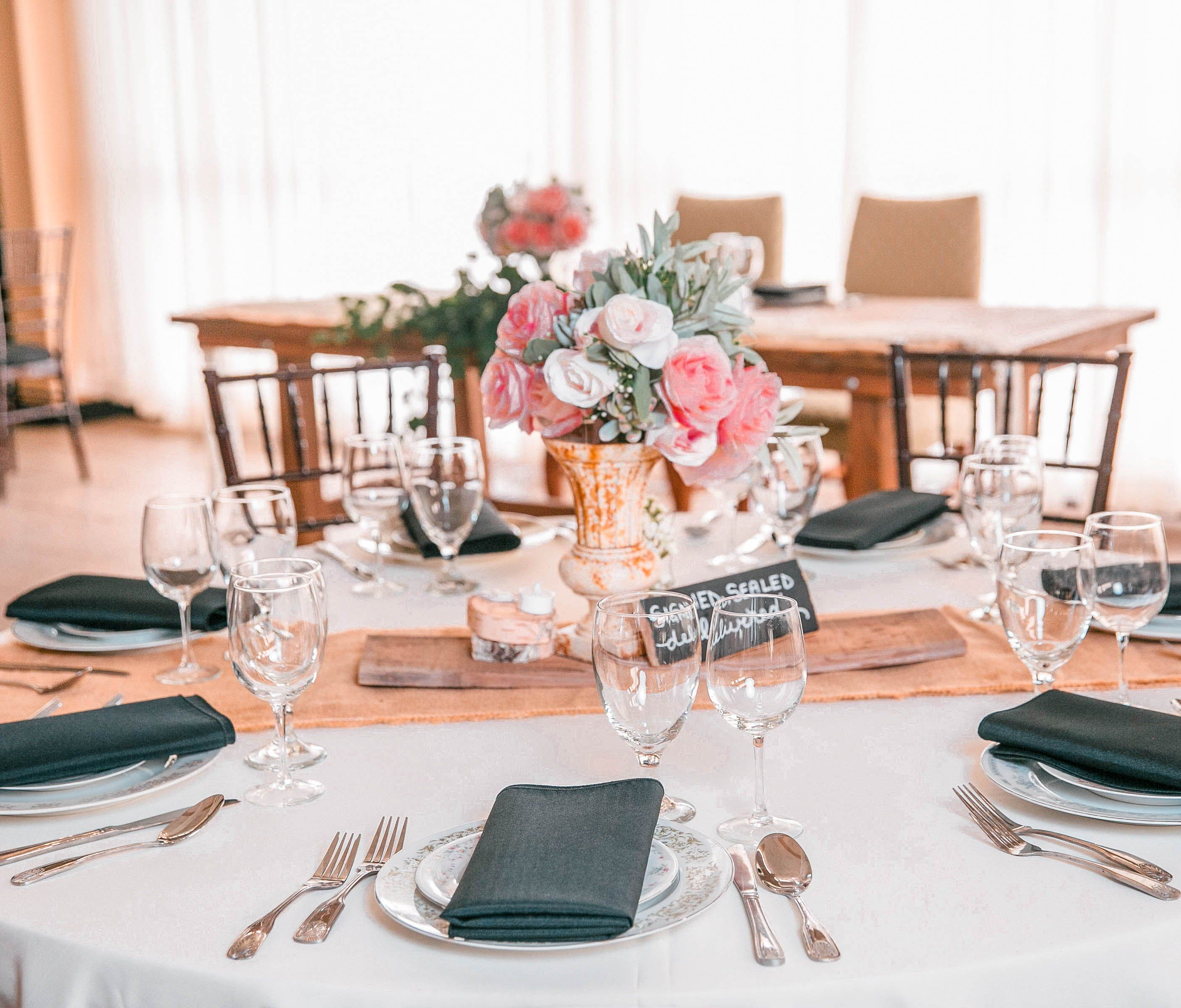 Do You Provide Tables Linens Chairs Plates Silverware And Glassware Or Will I Have To Rent Them Reception Table Design Event Center Wedding Decorations