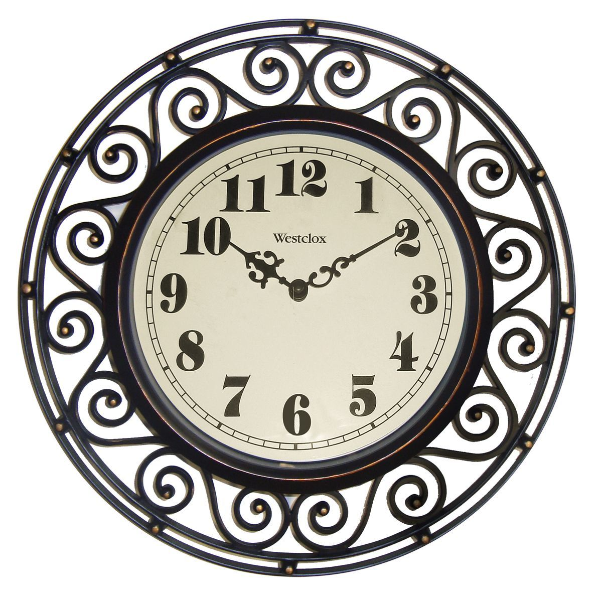 Westclox 12 Inch Detailed Wall Clock With Images Metal Wall Clock Wall Clock Round Wall Clocks