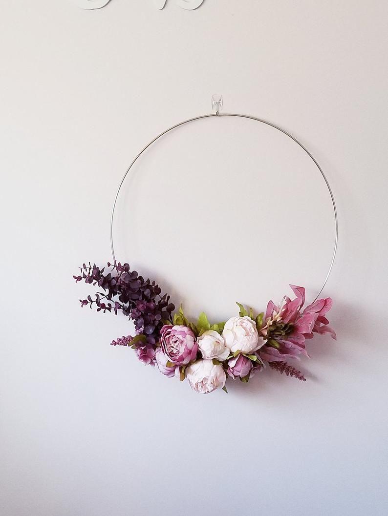 Photo of Modern Hoop Wreath, Nursery Wreath, Gold Hoop Wreath, Floral Wreath,Blush Peony Wreath