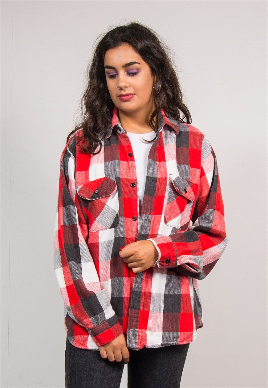 Flannel homecoming dress  Vintage us Large Red Check Pattern Flannel Shirt  The Vintage