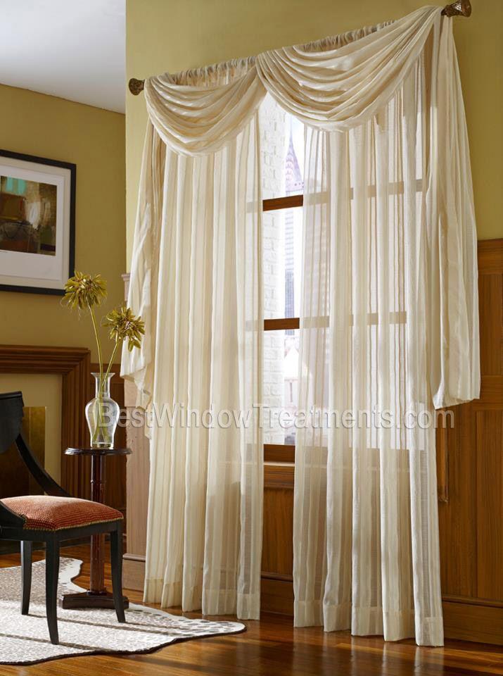 Leno stripe sheer scarf swag curtain top treatment nfpa 701 fire retardant in 2018 drapes - Decoracion cortinas dormitorio ...