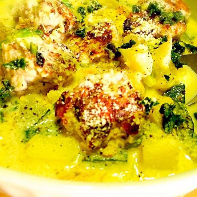 お野菜たっぷり入れたよ*\(^o^)/* - 35件のもぐもぐ - 茄子入りチキンバーグのアーモンドミルクスープ by MIEKO 沼澤三永子