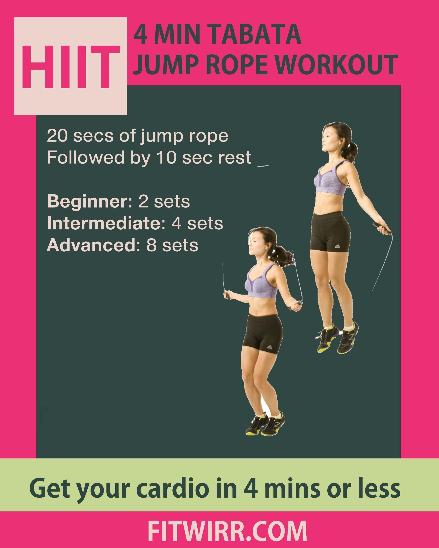 4 Min Tabata Hiit Jump Rope Workout Challenge Fitwirr Jump Rope Workout Hiit Jump Rope