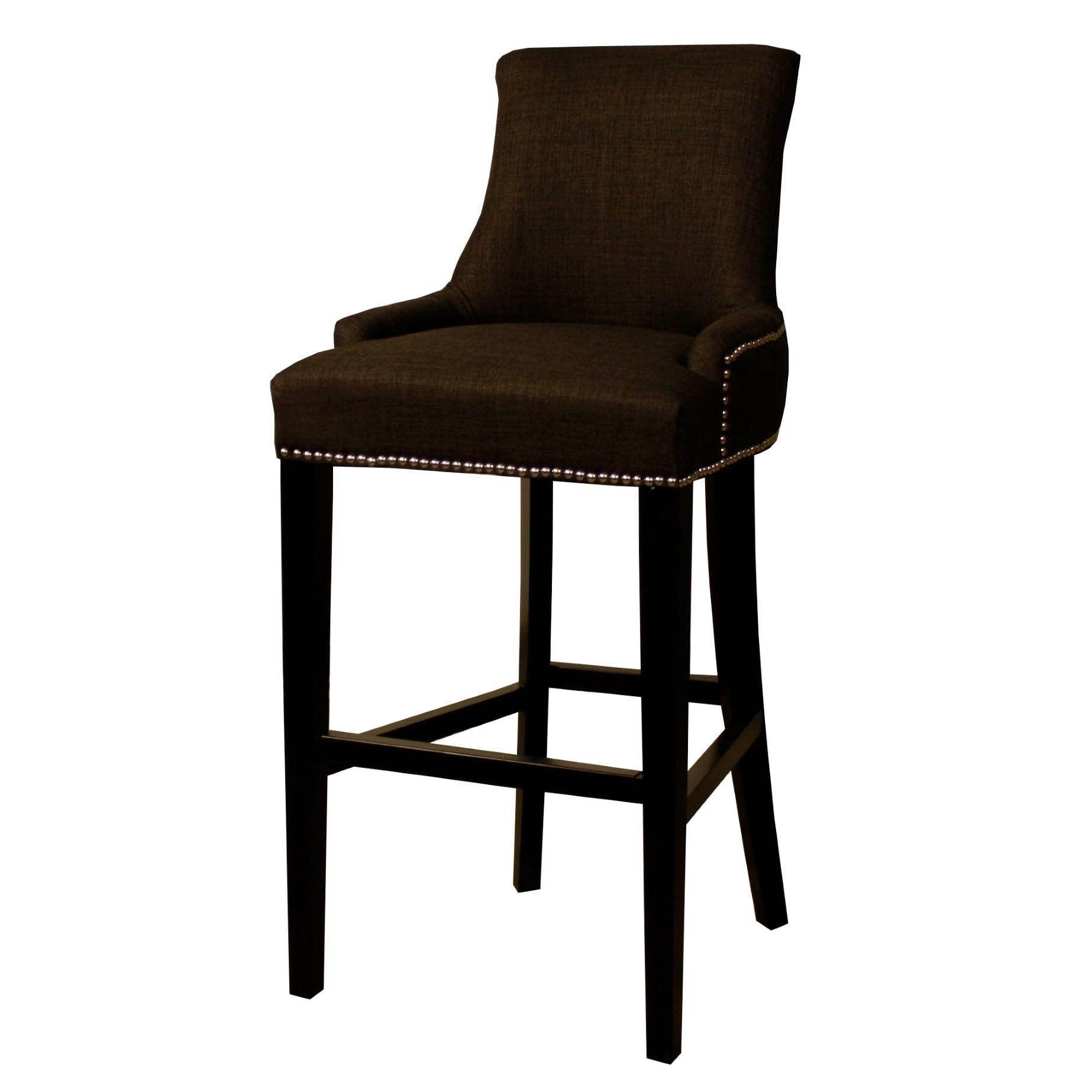 Charlotte Fabric Kitchen Counter Stool Charcoal Brown
