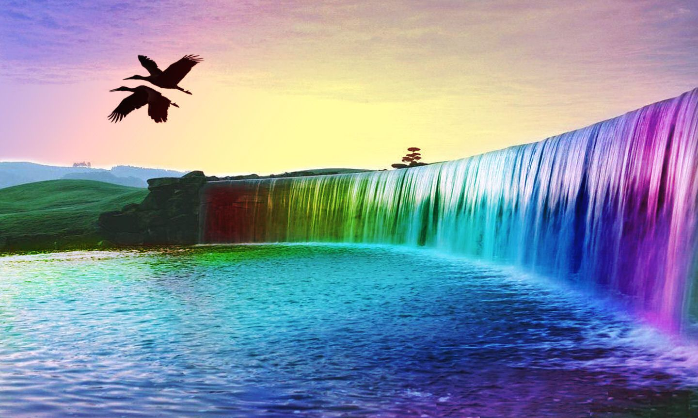 Beautiful Rainbow Waterfall Nature HD Wallpapers Free Download