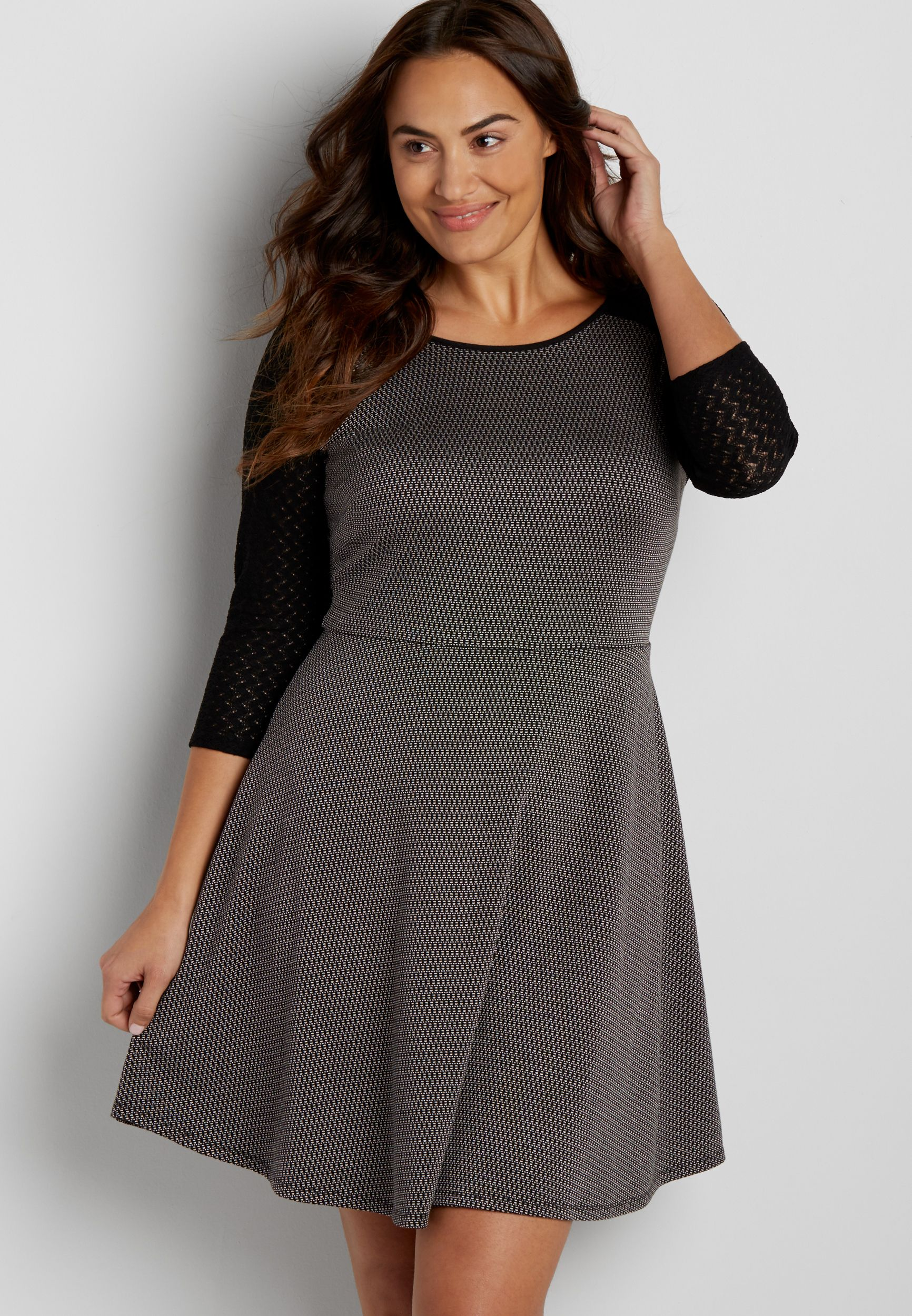 plus size patterned skater dress with lace sleeves (original price ...