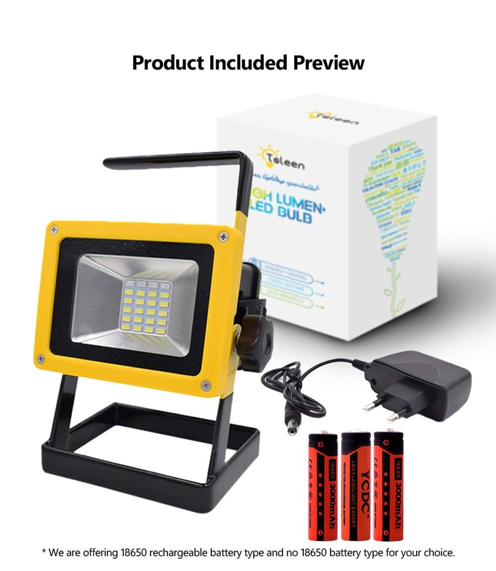 Projecteur Led Exterieur Rechargeable Tsleen 30w Led Flood Light 18650 Battery Operated Spot Lamp