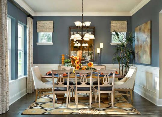 Blue Dining Room Colors chocolate brown walls pop with her he white trim in this jsj