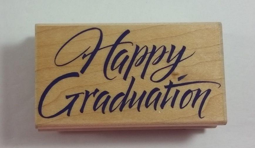 Happy Graduation Calligraphy Hero Arts Rubber Stamp F1171 #HeroArts #Background