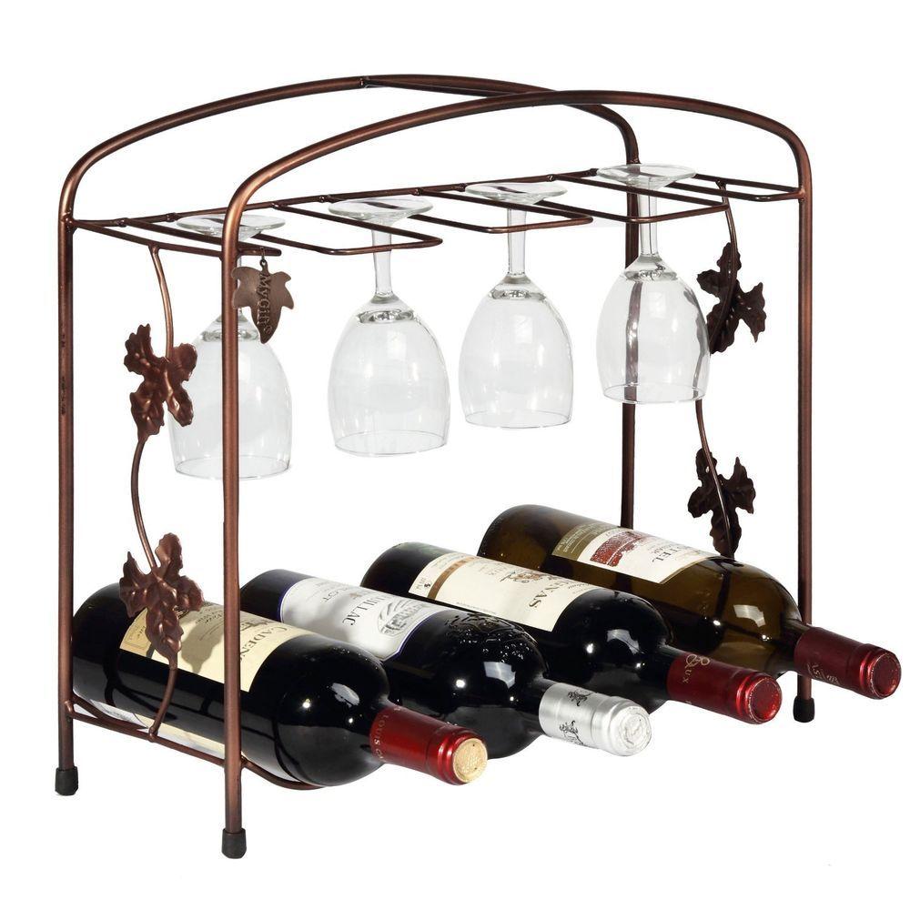 New Metal 8 Wine Bottle 8 Glasses Storage Display Rack Tabletop