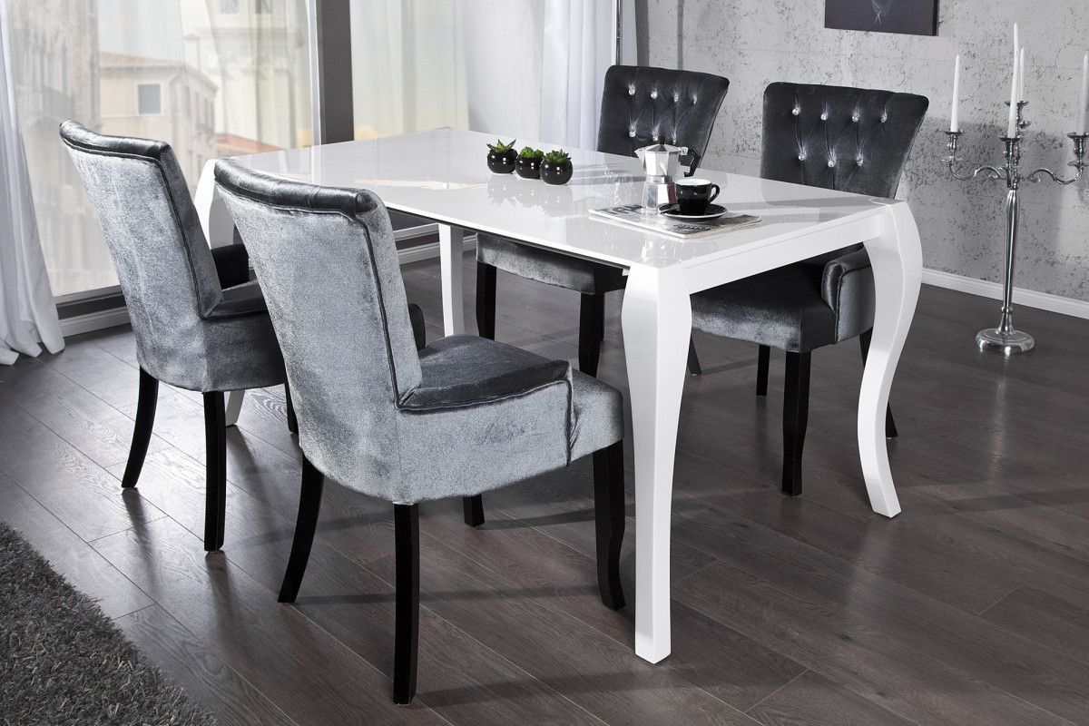 Table A Manger Blanche Pieds Baroque Extensible Comforium Com Salle A Manger Baroque Salle A Manger Grise Et Blanche Decoration Salle A Manger