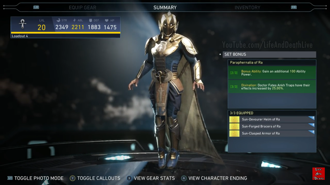 Doctor Fate S Sun Paraphernalia Of Ra Epic Gear Set Injustice 2 Injustice 2 Characters Injustice 2 Injustice