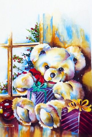 "Solveig Rimstad ~ teddy bear ""bearing"" gifts watercolor"