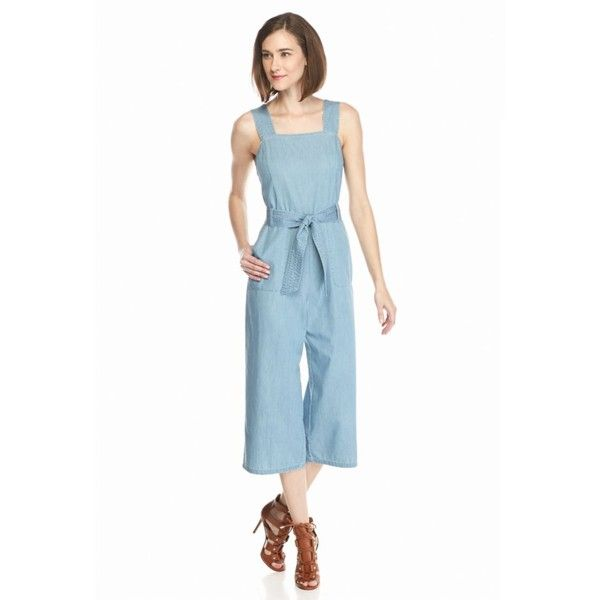 fa0bb2d0ee6e Two By Vince Camuto Bermuda Blue Chambray Belted Culotte Jumpsuit -...  ( 149) ❤ liked on Polyvore featuring jumpsuits