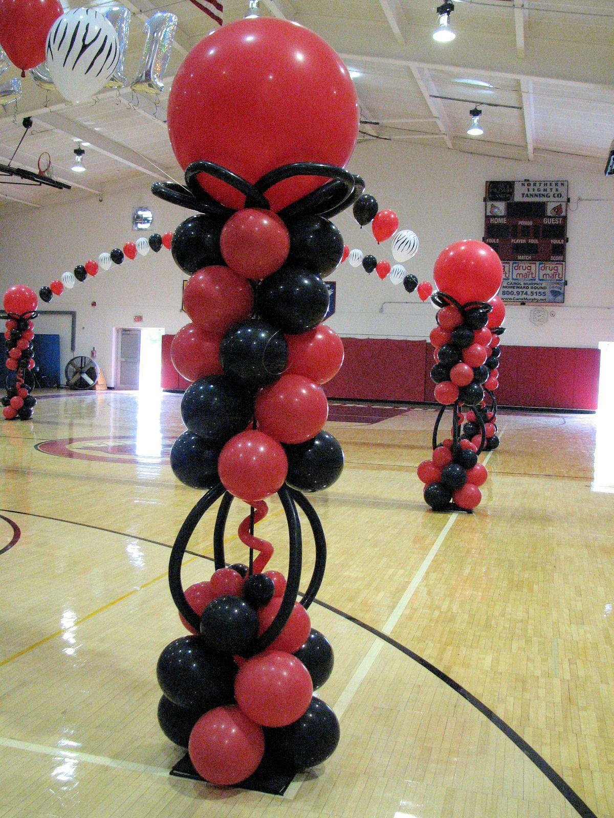 Red black balloon column columns pinterest