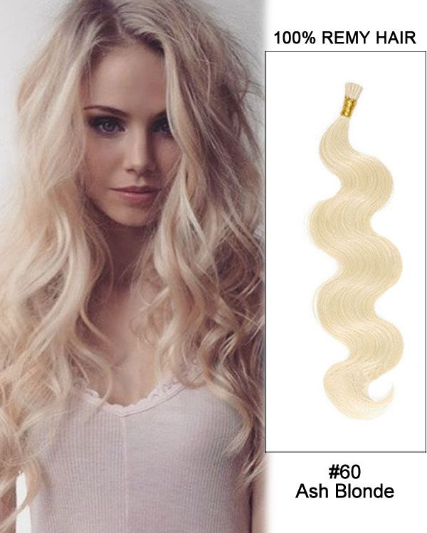 14 60 Ash Blonde Body Wave Stick Tip I Tip 100 Remy Hair Keratin