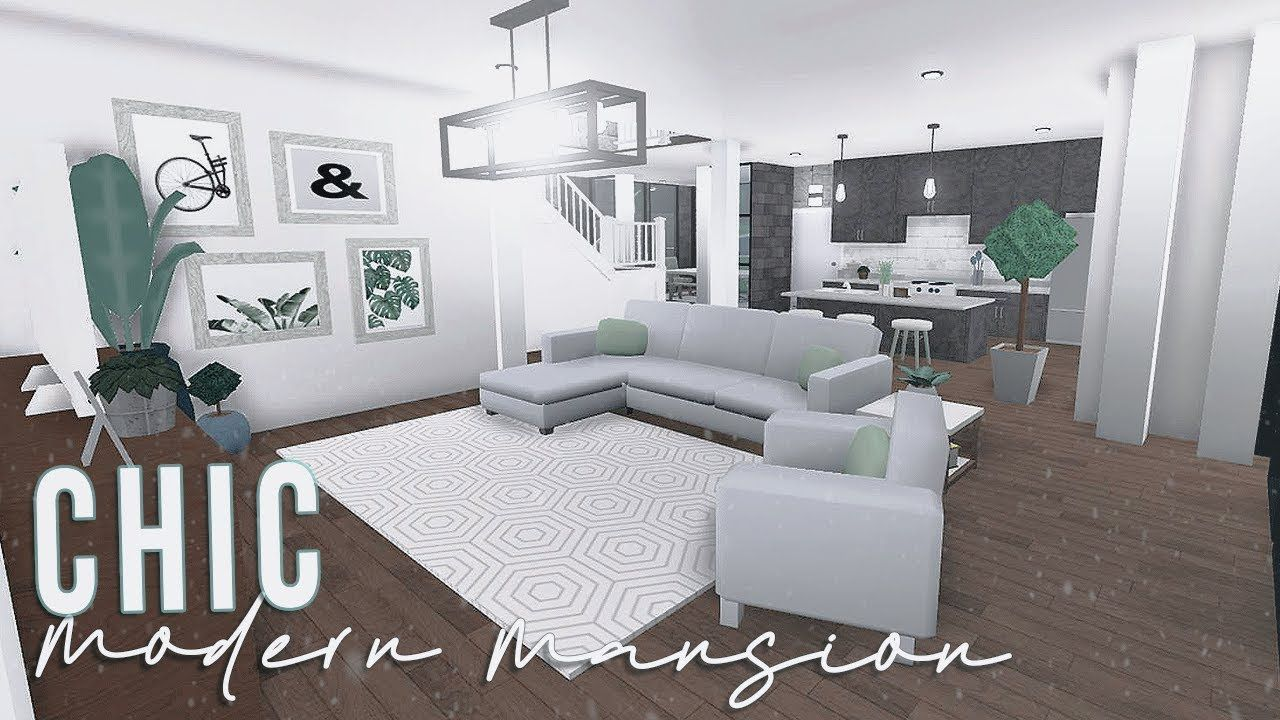 Roblox Bloxburg Chic Modern Mansion 120k In 2020 Cute Living Room Modern Family House Tiny House Bedroom