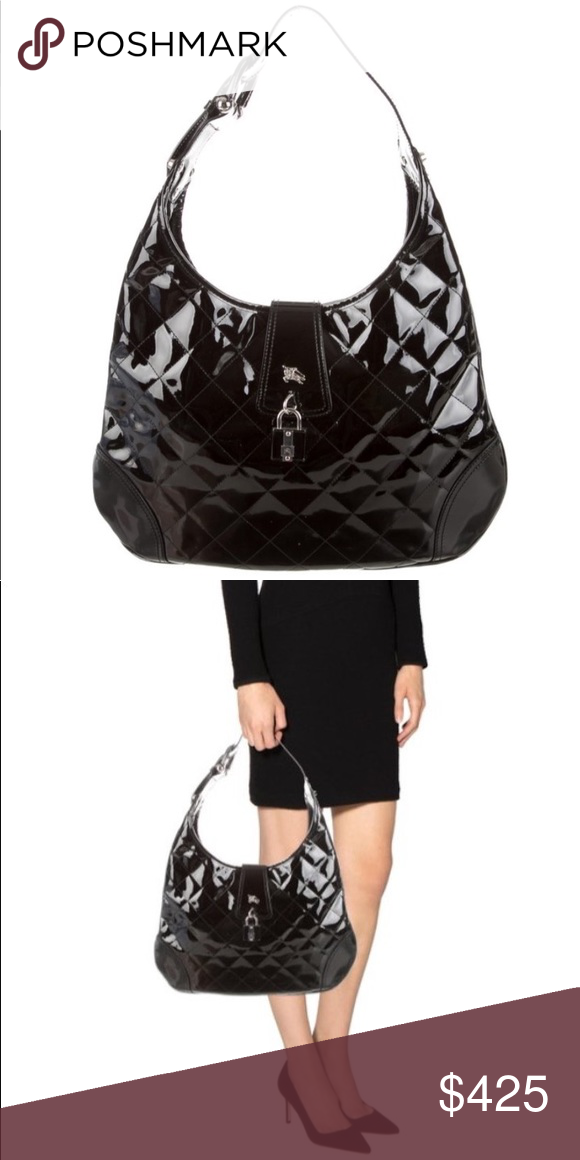 c6ef2f1297b7 Black quilted patent leather Burberry hobo Features silver-tone hardware
