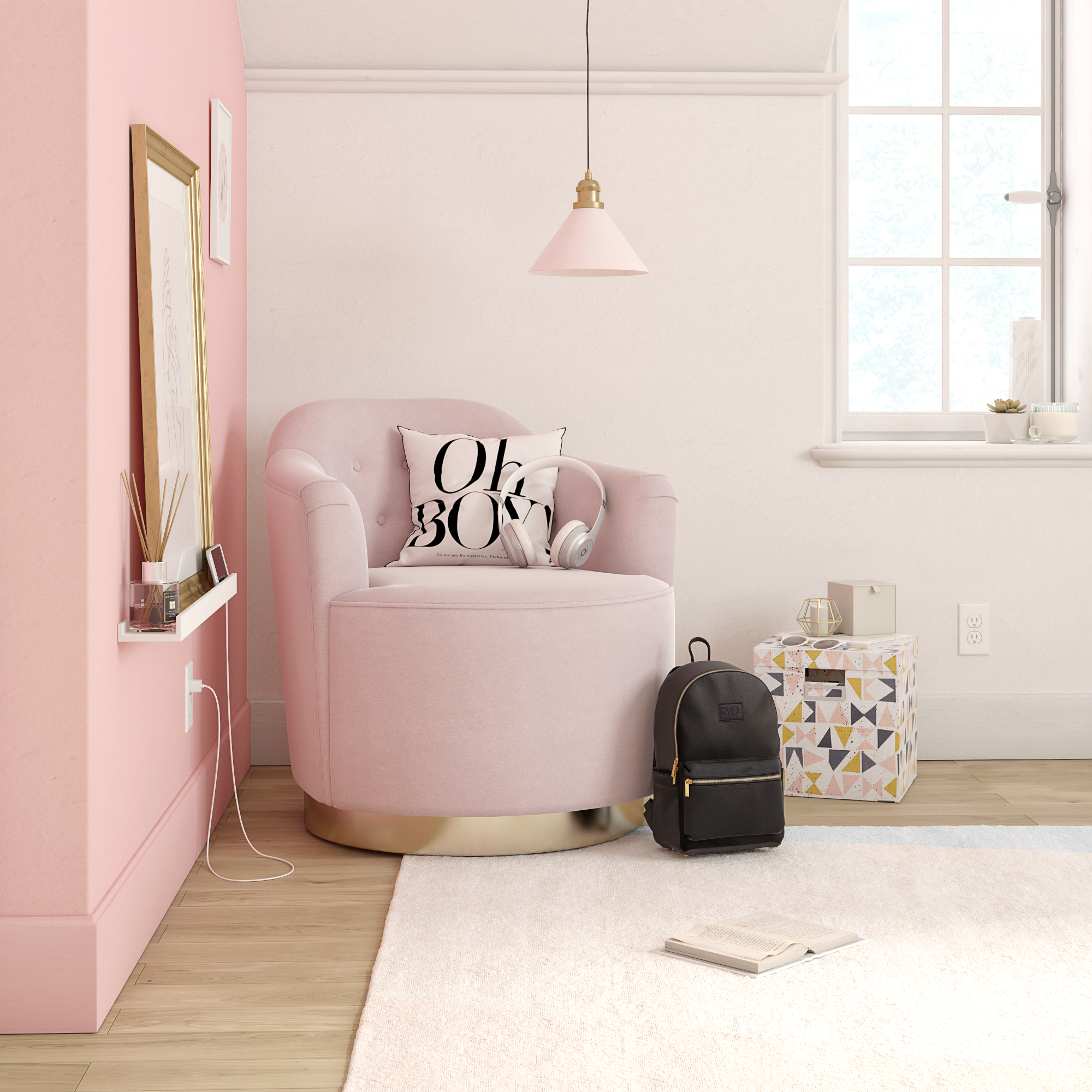 Home Comfy living room furniture, Pink office chair