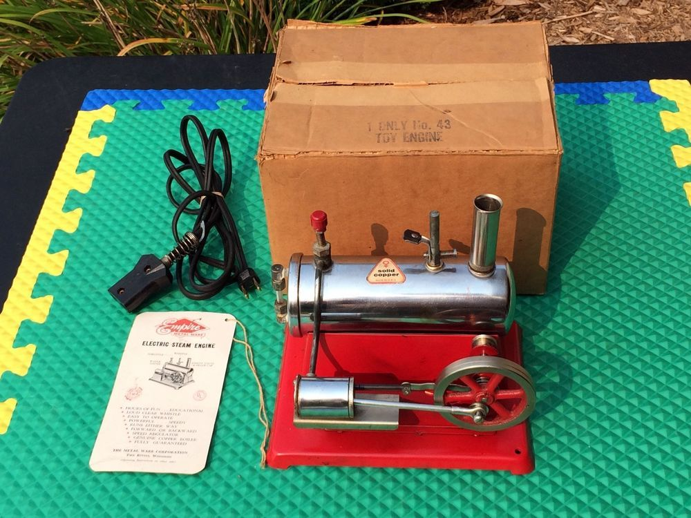 Works Great Vintage 50s Empire Electric Toy Steam Engine 43 Complete Box Manual Dampfmaschine