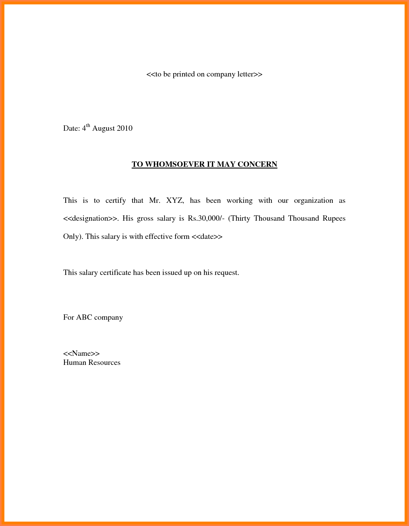 4 Confirmation Of Salary Letter Salary Bill Format Salary Proof