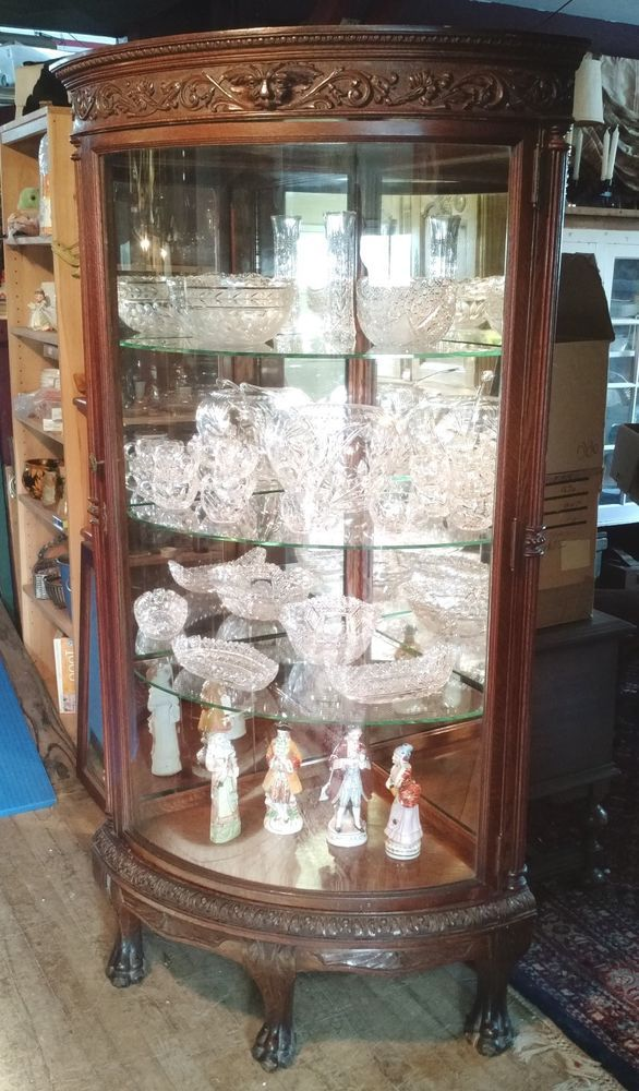 Antique 1890 Victorian Oak Mirrored Lions Paw Corner China Cabinet Curved  Glass #Victorian #Horner - Antique 1890 Victorian Oak Mirrored Lions Paw Corner China Cabinet
