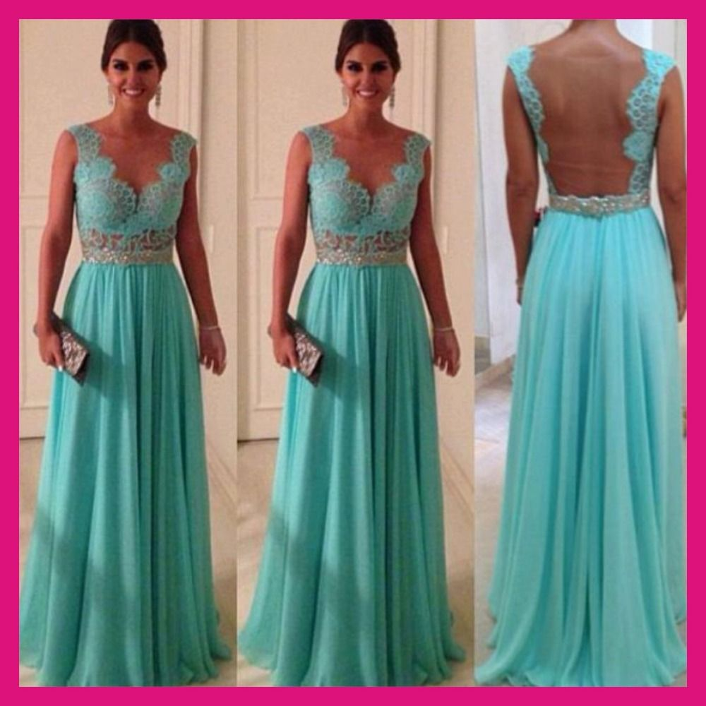 Turquoise Chiffon and Back Nude Tulle Cheap Price Best Selling ...