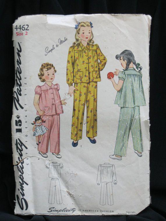 Size 2 Girl's Pajama pattern circa 1930 by MinniesStitches on Etsy
