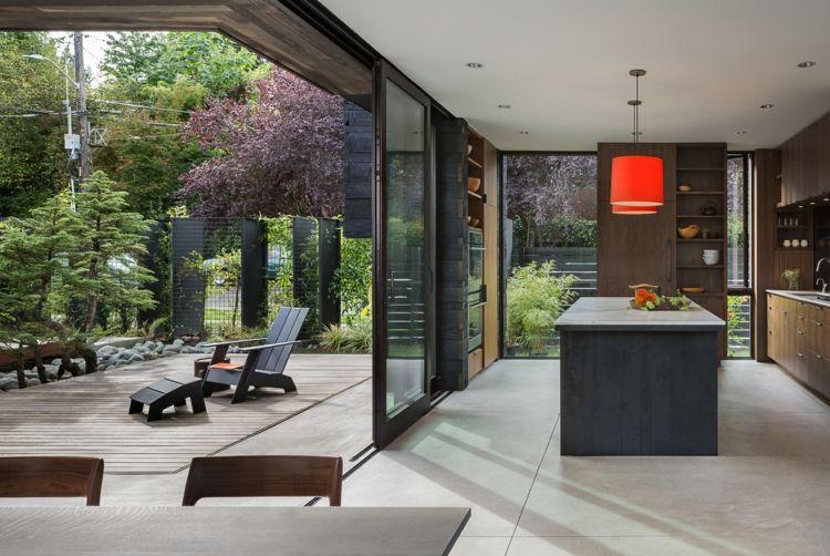 küche fensterfront veranda kochinsel schiebetür Traumhäuser - schiebetür für küche