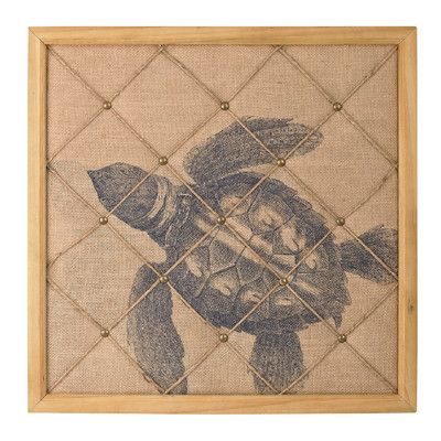Bay Isle Home Turtle on Linen Note Board Graphic Art