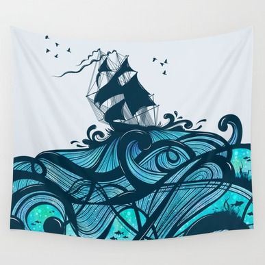 Wall Tapestry featuring Upon The Sea by Tracie Andrews