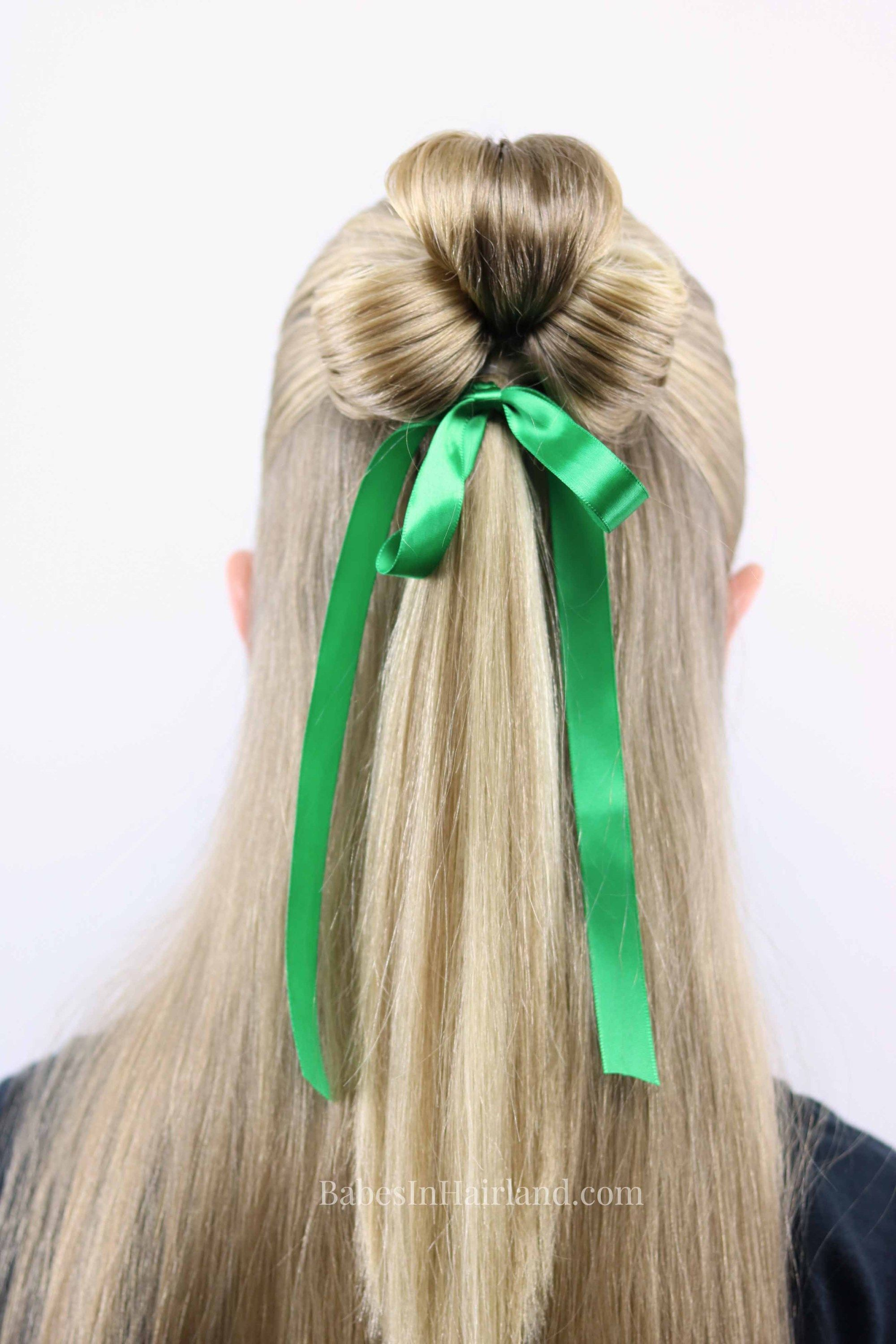 St Patrick S Day Hairstyle Lucky Clover 3 Leaf Clover Hair Styles Irish Hairstyles Hairstyle