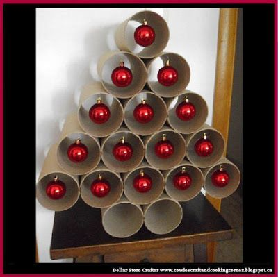 dollar store crafter turn large cardboard tubes into a cute christmas - Large Cardboard Christmas Decorations