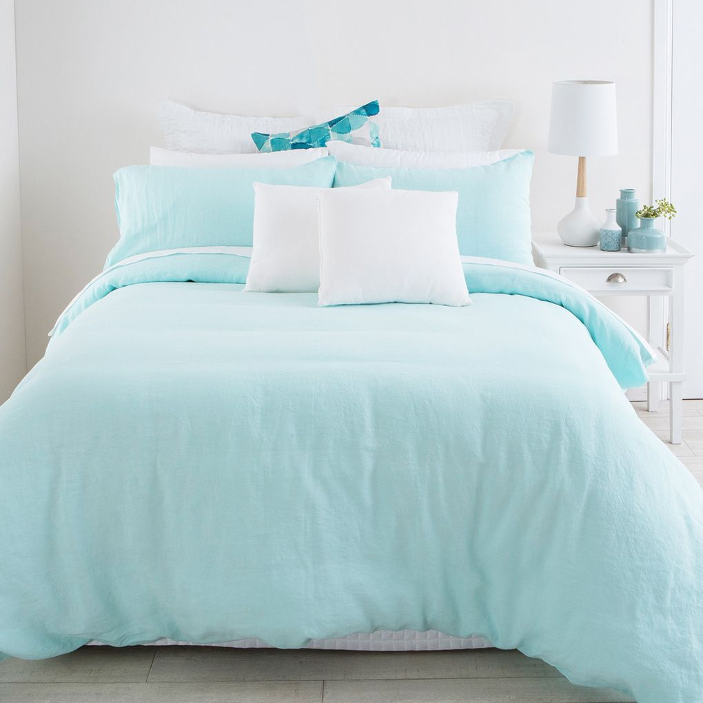 Aqua Stone Washed Linen Quilt Cover Set | Pillow Talk | Interior ... : aqua quilt - Adamdwight.com