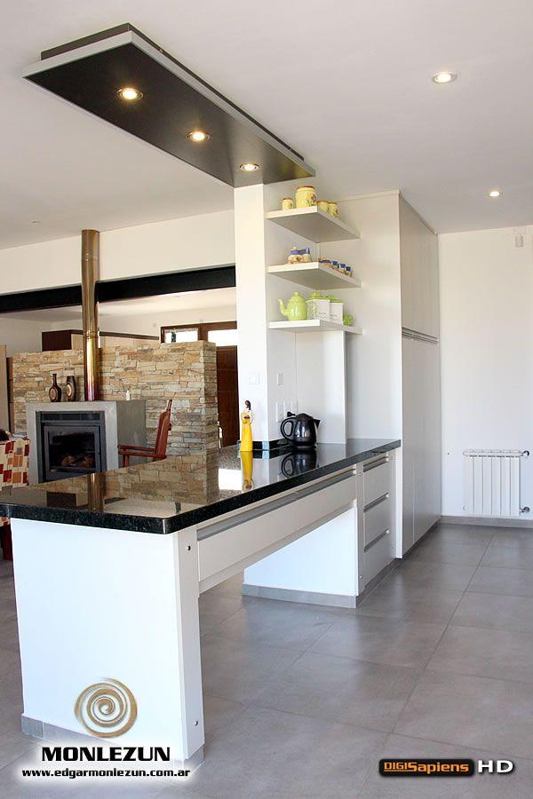 Amoblamiento cocina melamina color litio combinado con Disenos de muebles para cocinas pequenas
