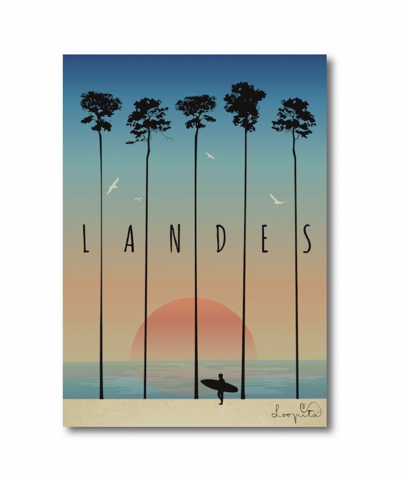 Affiche Loopita Les Landes Dessin Surf Dessin De Plage Illustration De Paysage