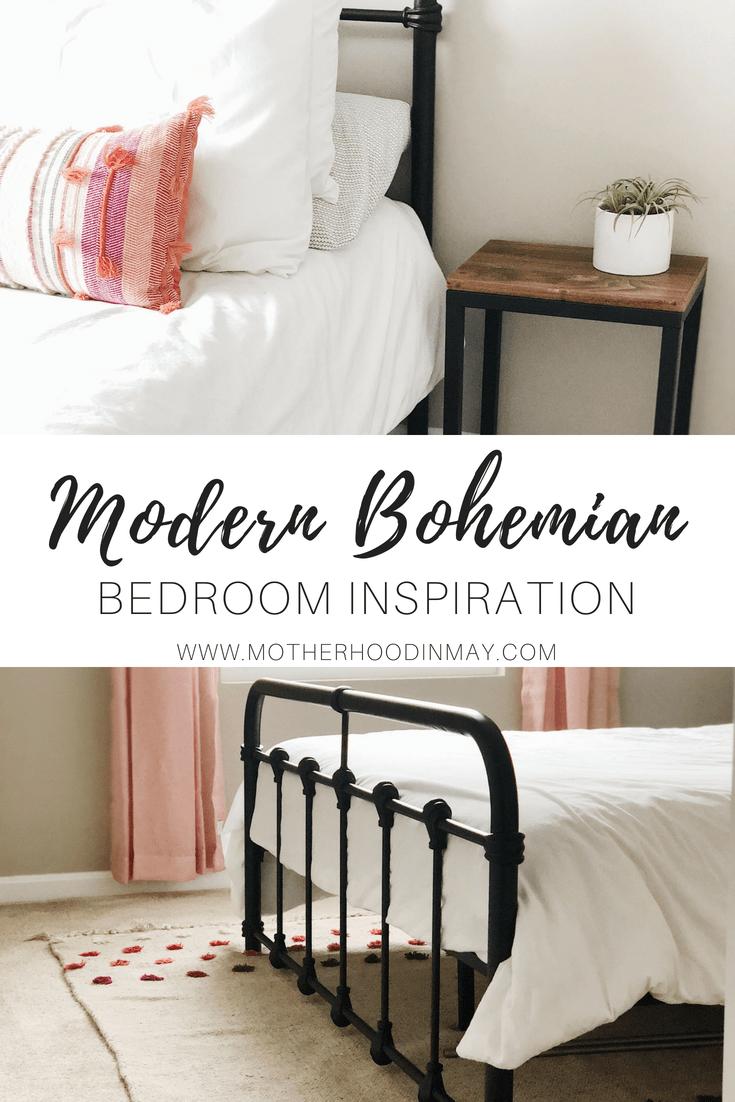 Modern Bohemian Bedroom Inspiration || Motherhood in May