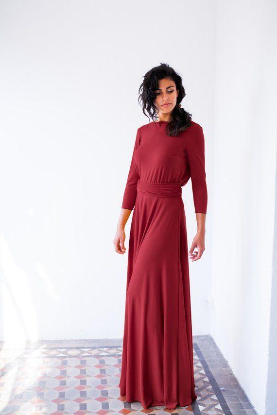 Sale Bordeaux Long Sleeve Evening Dress Oxblood Red Maxi Dress