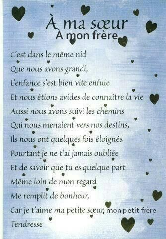 Je T'aime Ma Soeur Citation : t'aime, soeur, citation, Panneau, SOEUR,, FRERE, French, Quotes,, Citations, Humour,, Poems