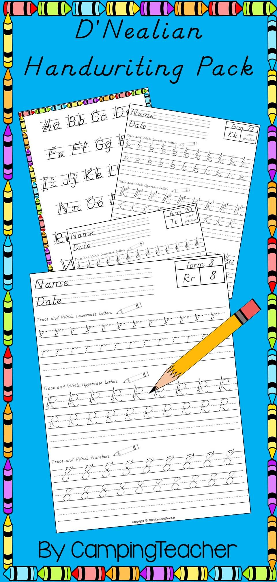 Worksheets D Nealian Handwriting Worksheets dnealian writing pack handwriting practice first year teacher worksheets and posters for teaching handwriting