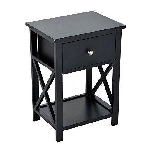 Best Homcom Xside Wood End Table Nightstand W Drawer Black 400 x 300