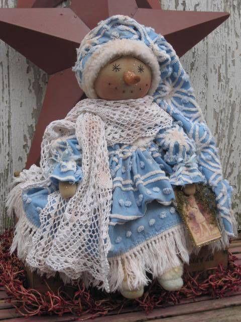 Prim Blue Winter Osnaburg Snowman Doll PATTERN by Countrygirl Prims #NaivePrimitive #CountrygirlPrims