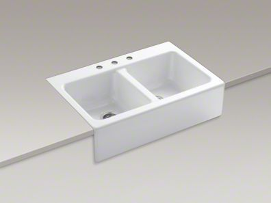Kohler Hawthorne Apron Front Tile In Sink W Three Faucet Holes